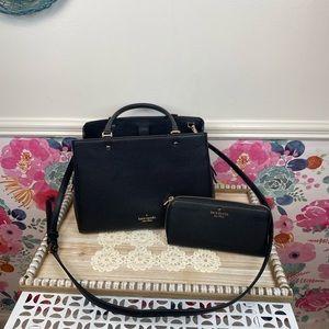 Black Kate Spade Leila Satchel & Medium Wallet Set